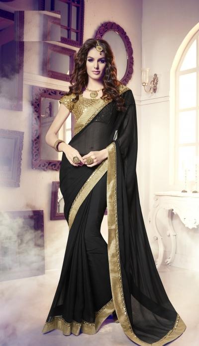 Party-wear-black-gold-color-saree