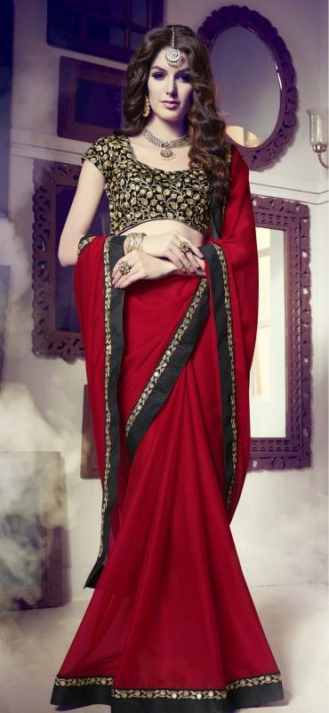 Party-wear-dark-red-color-saree