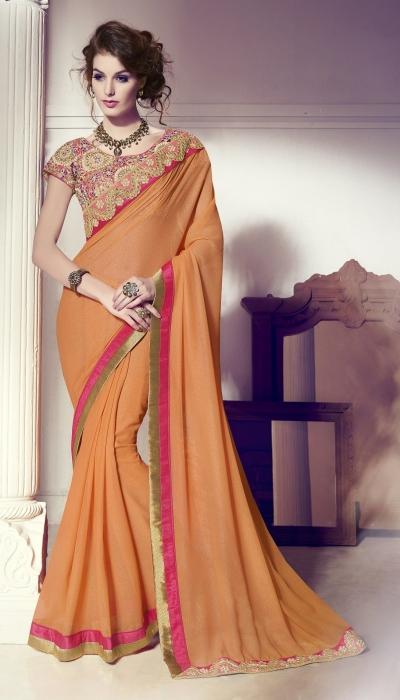 Party-wear-orange-color-saree