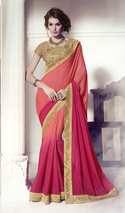 Party-wear-pink-peach-3-color-saree