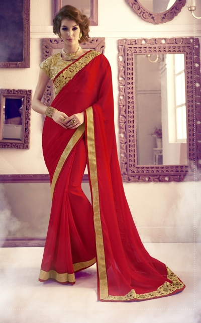 Party-wear-gold-red-color-saree