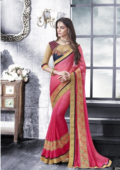 Party-wear-pink-beige-color-saree
