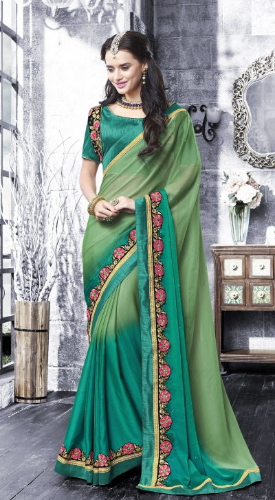 Party-wear-Multi-Green-color-saree