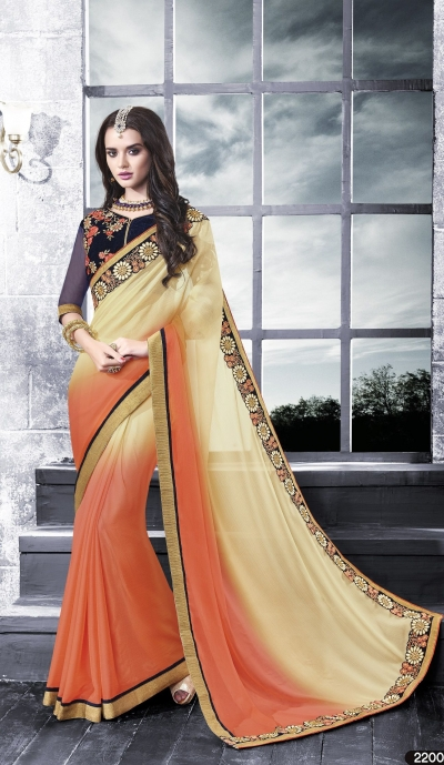 Party-wear-peach-blue-2-color-saree
