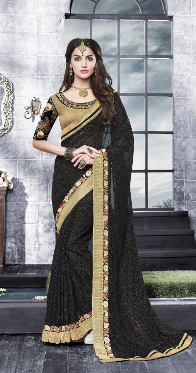 Party-wear-Chikoo-black-color-saree