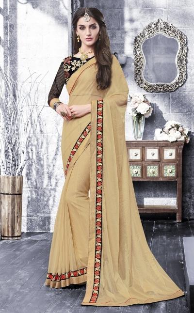 Party-wear-beige-color-saree