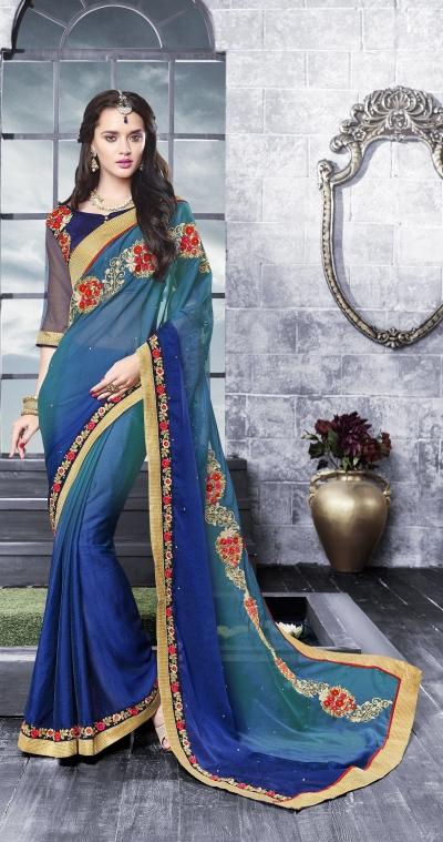 Party-wear-multi-Blue-color-saree