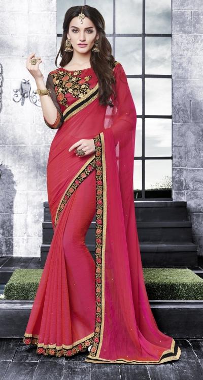Party-wear-red-black-8-color-saree