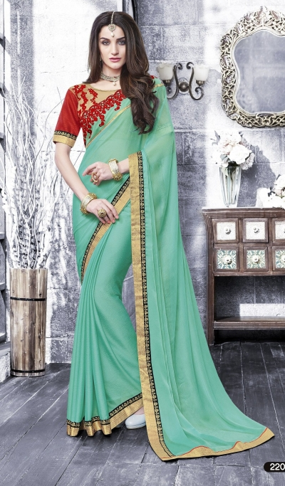 Party-wear-Mint-Green-color-saree