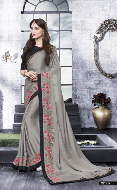 Party-wear-ash-black-color-saree