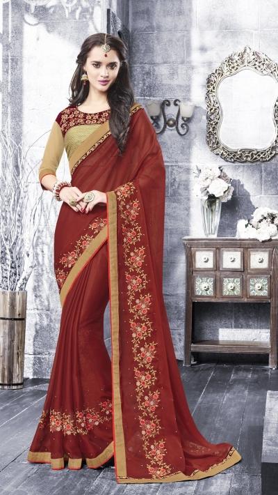 Party-wear-maroon-beige-color-saree