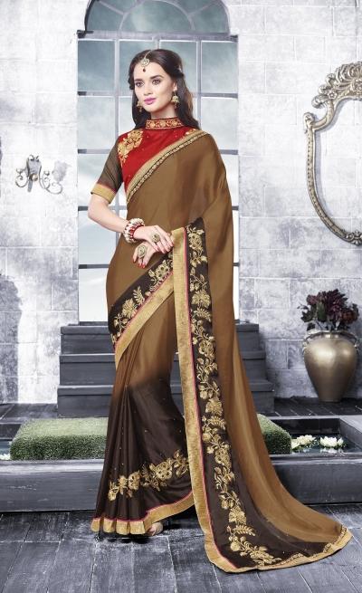 Party-wear-brown-black-color-saree