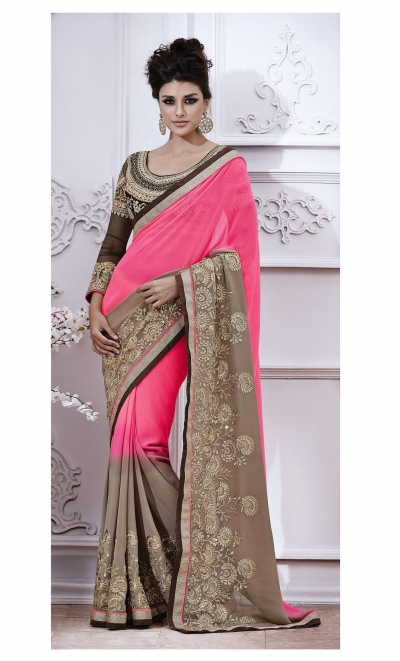 Party-wear-Pink-Grey-color-saree