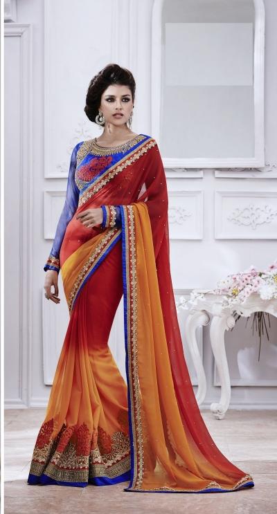 Party-wear-Orange-Red-Blue-color-saree