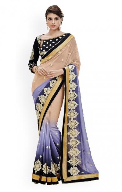 Party-wear-Blue-Grey-Brown-color-saree