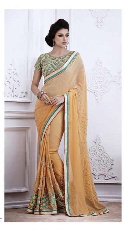 Party-wear-light-Orange-color-saree