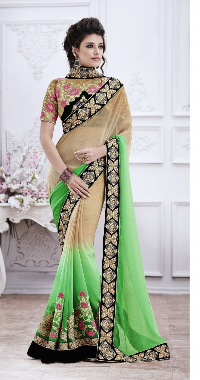 Party-wear-Green-Chikoo-color-saree