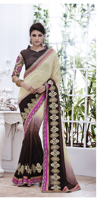 Party-wear-Beige-Coffee-Cream-color-saree
