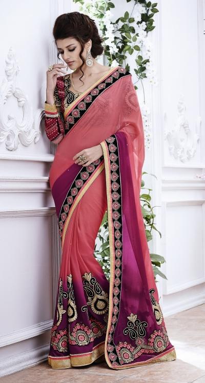 Party-wear-peach-wine-color-saree