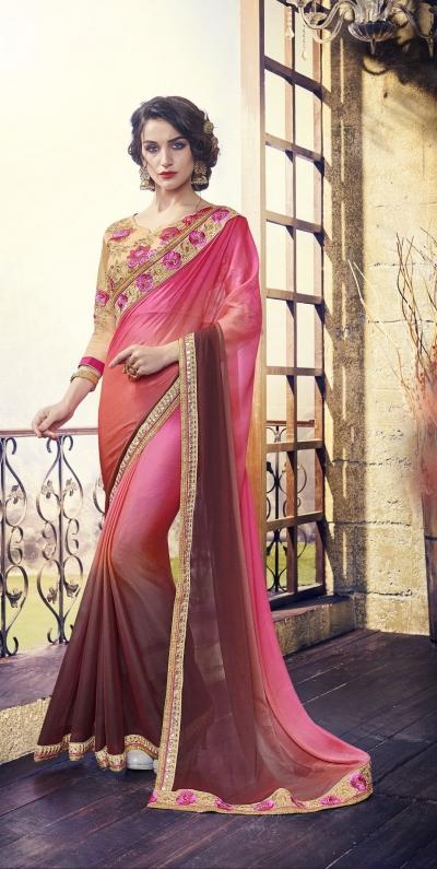 Party-wear-Pink-Beige-3-color-saree