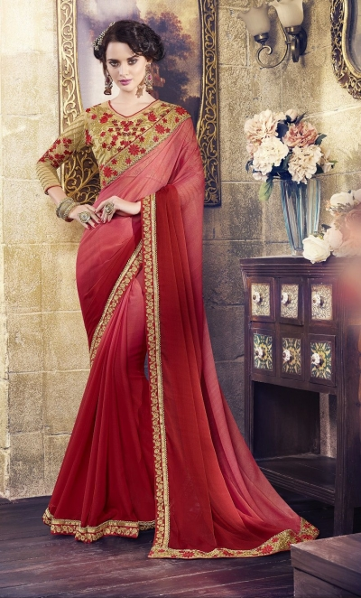 Party-wear-pinky-red-beige-color-saree
