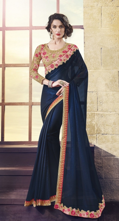 Party-wear-Dark-Blue-Beige-Color-Saree