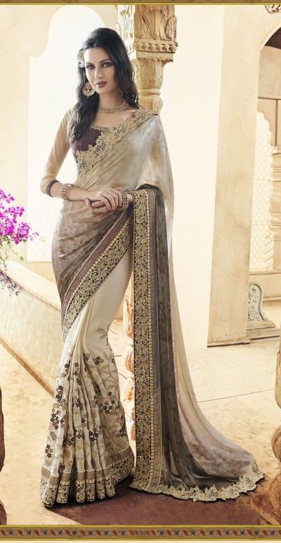 Party-wear-Beige-Brown-Grey-color-saree