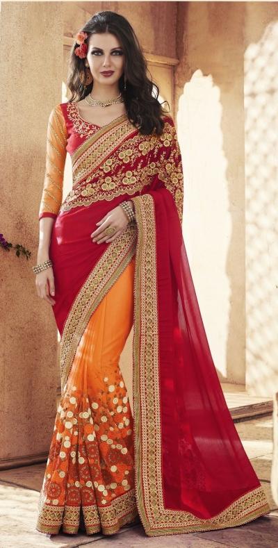 Party-wear-Orange-Red-8-color-saree