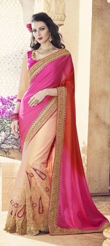 Party-wear-Chikoo-Pink-Orange-color-saree