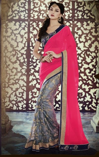 Party-wear-Pink-3-Grey-color-saree