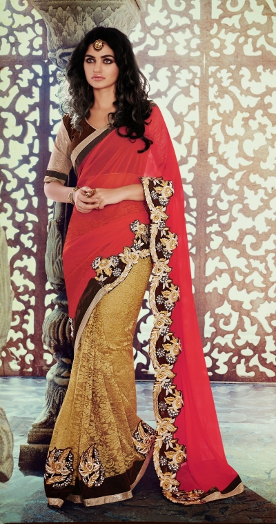 Party-wear-Red-Beige-Brown-color-saree