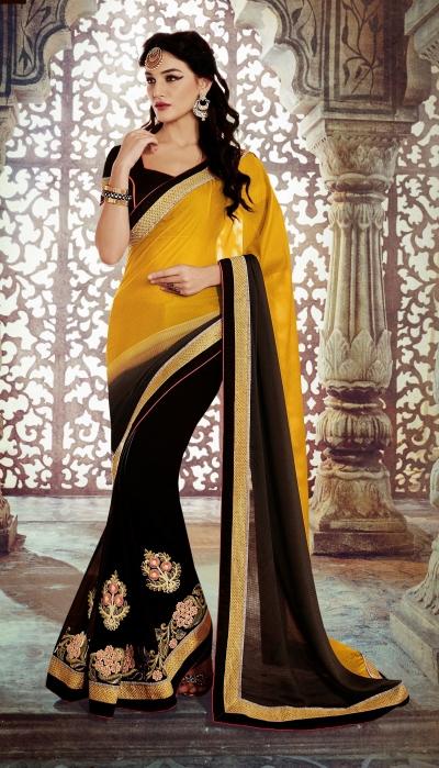 Party-wear-Yellow-Black-color-saree