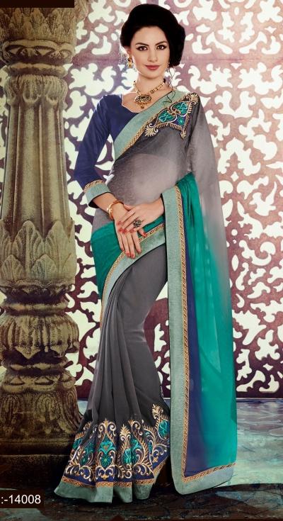 Party-wear-Grey-Blue-color-saree