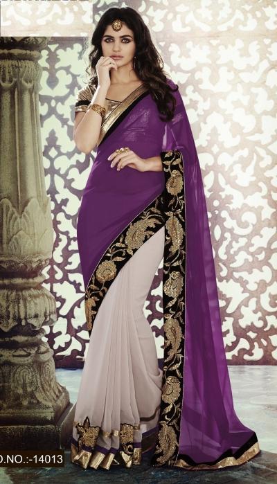 Party-wear-Purple-Powder-Pink-color-saree