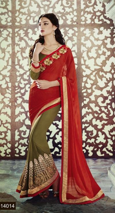 Party-wear-Orange-Mehndi-Green-color-saree