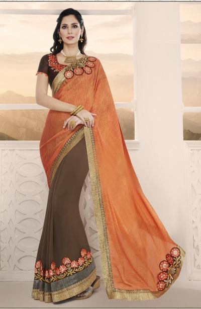 Party-wear-orange-brown-7-color-saree