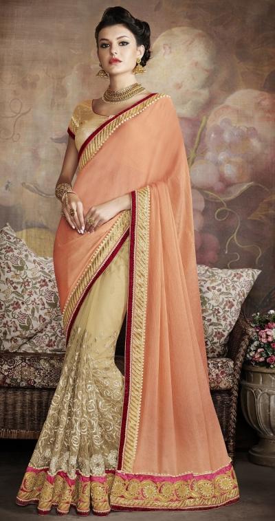 Party-wear-Beige-Peach-color-saree