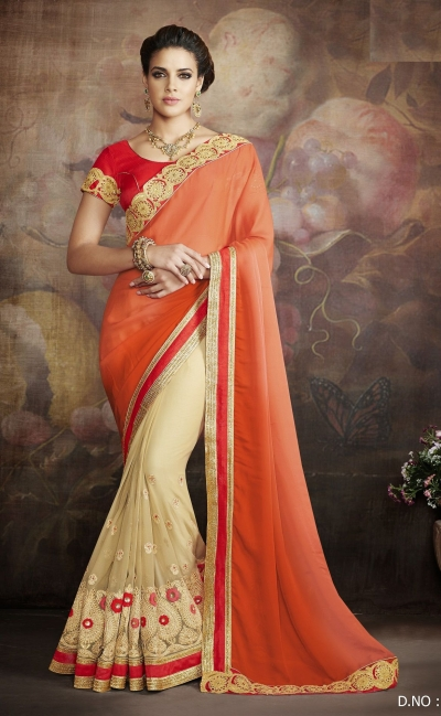 Party-wear-Orange-Beige-color-saree