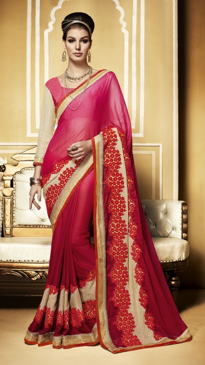 Party-wear-pinky-red-color-saree