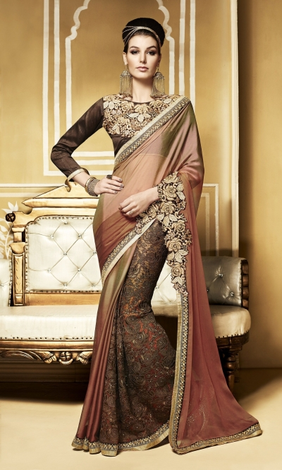 Party-wear-Beige-Brown-color-saree