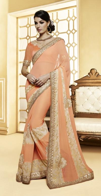 Party-wear-Peach-color-8-saree