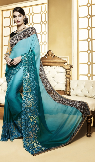 Party-wear-green-color-saree