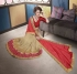 Party-wear-beige-red-color-saree