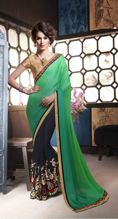 Party-wear-green-dark-blue-color-saree