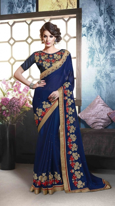 Party-wear-blue-color-10-saree
