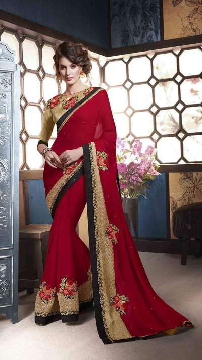 Party-wear-gold-red-beige-colour-saree