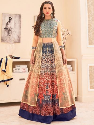 Gauhar khan multi color bangalori silk lehenga kameez