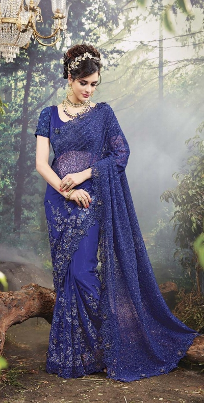 Party-Wear-Blue-Heavy-Work-Saree