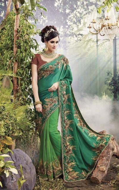 Party-Wear-Green-Heavy-Work-Saree
