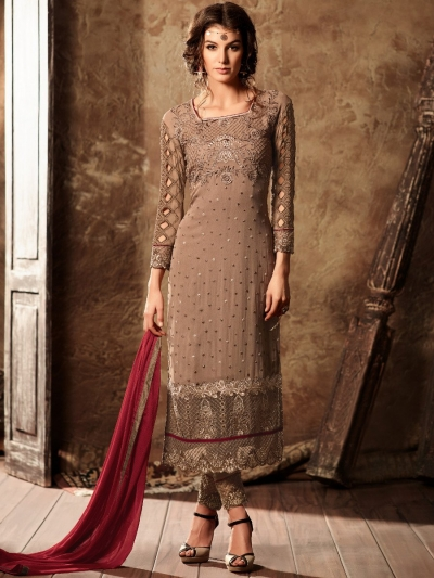 Brown color georgette straight cut kameez
